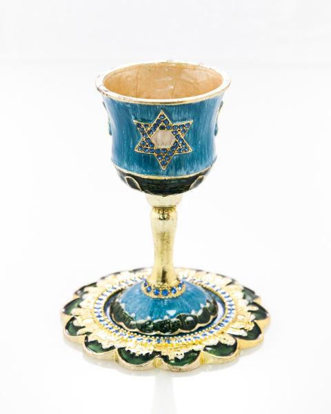 כוס קידוש מגן דוד משובץ